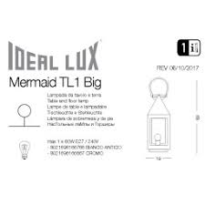 Лампа настольная <b>Ideal Lux Mermaid</b> TL1 BIG BIANCO ANTICO ...