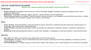 Helper Production Worker Knowledge Skills And Abilities