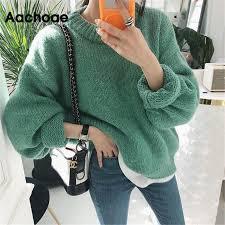 <b>Sweater</b> Women <b>2019 Autumn Winter</b> Fashion Solid O Neck ...