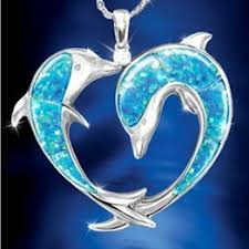 Exquisite <b>Fashion 925 Silver</b> Blue White Opal Dolphin <b>Necklace</b> ...