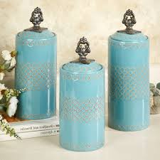 decorative canisters kitchen classy cylindrical kitchen canister set in turquoise with artistic lid