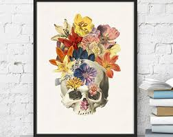 winter sale 10 off human skull and flowers collage home decor prints wall art docotrs gift anatomical skull wall decor wsk011 anatomy eat kitchen