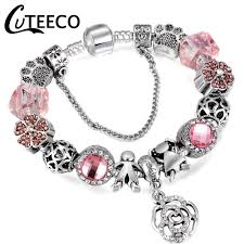 <b>CUTEECO Silver Plated</b> Couple Charm Bracelet With Heart Of The ...