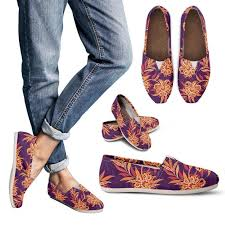 Tangerine Floral <b>Bohemian</b> Pattern <b>Print</b> Women's Casual Shoes ...