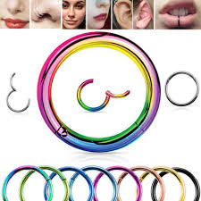 <b>1PC</b> F136 <b>Titanium</b> Hinged <b>Segment</b> Hoop Nose Ring <b>16G</b> Nipple ...
