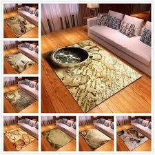 Retro <b>World Map Anti</b>-<b>skid</b> Area Rug Living Room Soft Carpet ...
