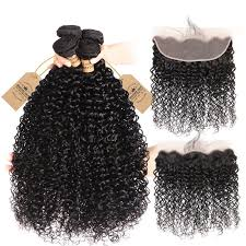 Brazilian Human Hair 4pcs <b>Kinky Curly</b> With 13*4 <b>Lace</b> Frontal ...