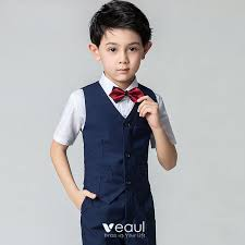 Modest / <b>Simple Summer</b> Navy Blue Boys Wedding Suits <b>2019 Short</b> ...