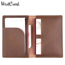 WESTCREEK Brand <b>Vintage Genuine Leather Travel</b> Passport ...
