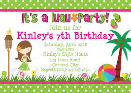 printable birthday invitations luau party little girl girls printable birthday invites