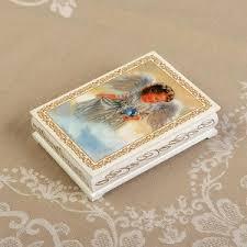 <b>Шкатулка</b> «Ангел с <b>птицей</b>», <b>белая</b>, 10?14 см, лаковая миниатюра