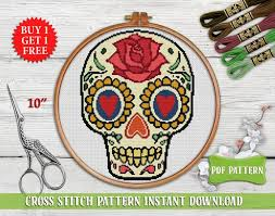 Arts, Crafts & Sewing <b>Patterns Halloween Sugar Skull</b> Cross Stitch ...