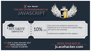 vivek shangari vivekcomputes twitter on popular demand we are extending a 10% discoun for students at the art of programming in javascript workshop js acehacker com pic com