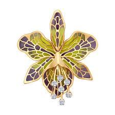 <b>Брошь</b> из <b>золота</b> с эмалью с бриллиантами <b>SOKOLOV</b> – купить в ...
