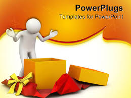 best gift powerpoint templates crystalgraphics powerpoint template displaying white person opening a present gift orange star border