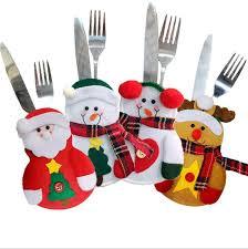<b>4pcs Merry Christmas</b> Knife and Fork Bag Santa Claus Snowman ...