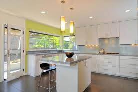 awesome countertop kitchen design with white green paint wall including nice pendant lamps above kitchen island nice types kitchen