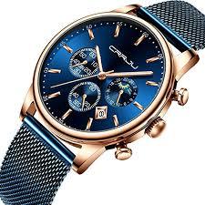 CRRJU Men's Blue Date Chronograph Watches Men ... - Amazon.com
