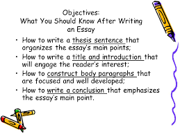 essayessay part  writing the thesis objectives what you should  objectives what you should know after writing an essay how to write a thesis sentence
