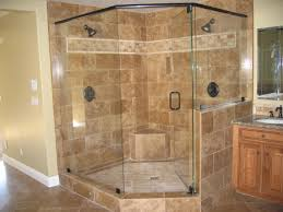 bathroom ideas corner shower design: bathroom shower stalls corner bathroom designed using brown tile backsplash rectangular glass shower doors cream