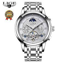Lige Mens Watches Top Brand <b>LIGE Luxury Automatic Mechanical</b> ...