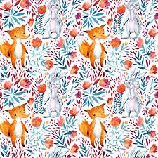 <b>Watercolor</b> Cute Cartoon <b>Bunny</b> And <b>Fox</b> Seamless Pattern. Forest ...