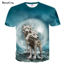 <b>2019</b> Summer <b>New Wolf</b> series 3D Print T shirt Men fashion O neck ...