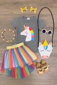 Heather Gray <b>Unicorn</b> Shirt with <b>Rainbow</b> Hi-Low <b>Tutu Skirt</b> | Cute ...