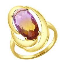 Купить <b>кольцо SOKOLOV из желтого</b> золота с ситаллом аметрин ...