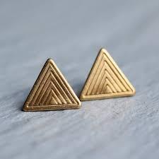 Triangle <b>Earrings</b> ... Geometric Deco <b>Brass</b> by SilkPurseSowsEar ...