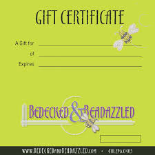 gift certificate bedecked and beadazzled bedecked bedazzled gift certificate template