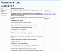 hotel receptionist job description receptionist job description  receptionist job description template receptionist job description info
