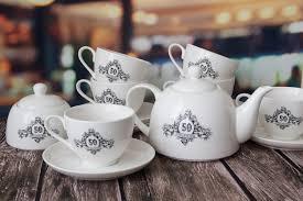 <b>Набор</b> посуды из <b>6 чайных пар</b>, чайника и сахарницы ...