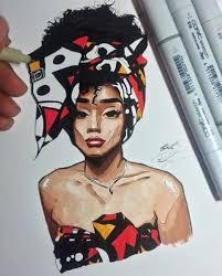 cartoon style africa woman wall