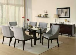 Fabric Chairs For Dining Room Dark Dark Brown Wooden Finish Furniture Black Leather Seat Dining