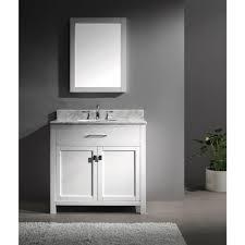 Bathroom White Vanities Virtu Usa Caroline 36 In Single Basin Vanity In White With Marble