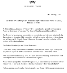 kensington palace on at the request of the duke of kensington palace on at the request of the duke of cambridge prince harry a statue of diana princess of wales is to be erected at kensington