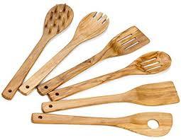 Hudson Essentials Olive Wood <b>Cooking Utensils</b> Set - 6 Piece <b>Hand</b> ...