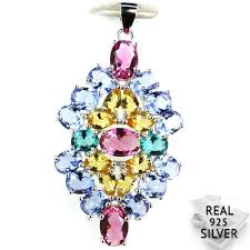 <b>Guaranteed Real 925 Solid</b> Sterling Silver 4.2g Colorful Aquamarins ...