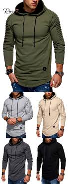 <b>Solid</b> Pleated Sleeve Hem <b>Curved</b> Long Fleece Hoodie | Mens ...