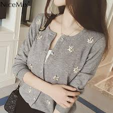 <b>NiceMix</b> Cardigan Women Knitted Sweater Hand Beading Sequined ...