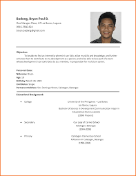 resume format sample for student professional resume cover resume format sample for student sample resume for high school students massedu simple filipino resume format