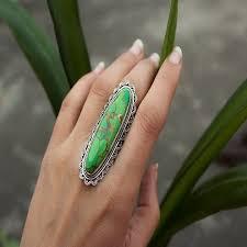 Solid 925 Sterling <b>Silver Big</b> Green <b>Copper</b> Turquoise Gemstone ...