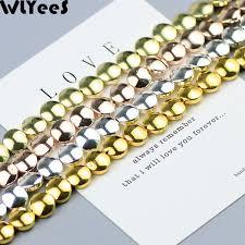2019 <b>WLYeeS</b> Flat Round 8mm Hematite Beads Rose <b>Gold</b> Silver ...
