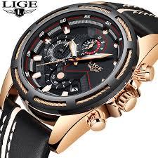 LIGE <b>Watch Men</b> Fashion Sport Quartz Clock Leather <b>Mens Watches</b> ...