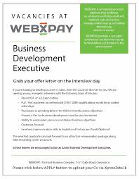 business development executive webxpay private limited job image