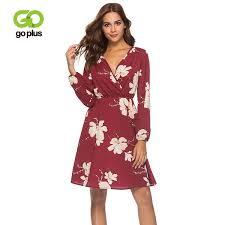 2019 <b>Goplus</b> Boho <b>Floral Print</b> Chiffon Dress Women Sexy V Neck ...