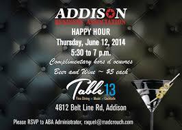 addison business association happy hour table 13 addison ab