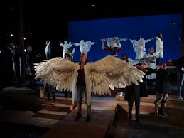 lai s wings on stage during the laramie project angels in lai s wings on stage during the laramie project