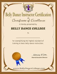 certified belly dance training instructor certificate